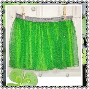 Other - Girls' green cheetah print layered skirt, XL 14-16